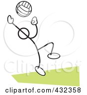 Royalty Free RF Clipart Illustration Of A Stickler Man Playing Volleyball 2
