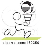 Royalty Free RF Clipart Illustration Of A Stickler Man Doing A Cone Race 3 by Johnny Sajem