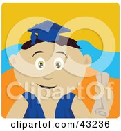 Clipart Illustration Of A Mexican Graduating Boy Holding A Diploma
