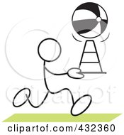 Royalty Free RF Clipart Illustration Of A Stickler Man Doing A Cone Race 1 by Johnny Sajem