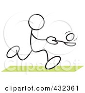 Royalty Free RF Clipart Illustration Of A Stickler Man Balancing An Egg On A Spoon In A Relay Race 1
