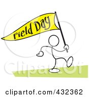 Royalty Free RF Clipart Illustration Of A Stickler Man Carrying A Field Day Flag 2