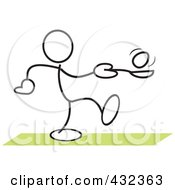 Royalty Free RF Clipart Illustration Of A Stickler Man Balancing An Egg On A Spoon In A Relay Race 3