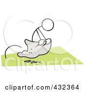 Royalty Free RF Clipart Illustration Of A Stickler Man Competing In A Potato Sack Race 1