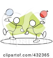 Royalty-Free Rf Clipart Illustration Of Stickler Men With Balloons In A Circle - 2