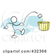 Royalty Free RF Clipart Illustration Of A Stickler Man Tossing A Bag Into A Basket 4