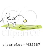 Royalty Free RF Clipart Illustration Of A Stickler Man Tossing A Bag In A Circle 2 by Johnny Sajem