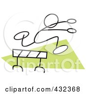 Royalty Free RF Clipart Illustration Of A Stickler Man Leaping A Hurdle 2
