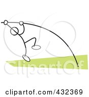 Royalty Free RF Clipart Illustration Of A Stickler Man Doing The Pole Vault 2