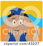 Clipart Illustration Of A Latin American Graduating Boy Holding A Diploma by Dennis Holmes Designs