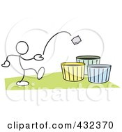 Royalty Free RF Clipart Illustration Of A Stickler Man Tossing A Bag Into A Basket 1