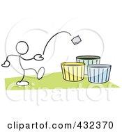 Stickler Man Tossing A Bag Into A Basket - 1