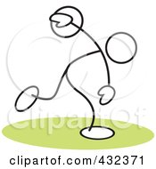 Royalty Free RF Clipart Illustration Of A Stickler Man Throwing A Discus 2 by Johnny Sajem