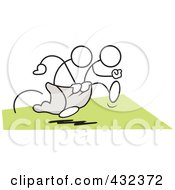 Royalty Free RF Clipart Illustration Of Stickler Men Working Together In A Three Legged Race 2
