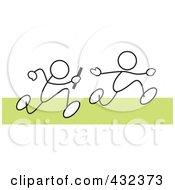 Royalty-Free Rf Clipart Illustration Of Stickler Men Running A Relay Race - 2