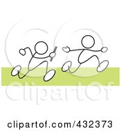 Royalty Free RF Clipart Illustration Of Stickler Men Running A Relay Race 2