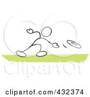 Royalty Free RF Clipart Illustration Of A Stickler Man Throwing A Frisbee 2