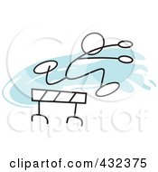 Royalty Free RF Clipart Illustration Of A Stickler Man Leaping A Hurdle 1 by Johnny Sajem