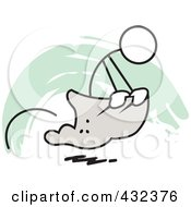 Royalty Free RF Clipart Illustration Of A Stickler Man Competing In A Potato Sack Race 2 by Johnny Sajem