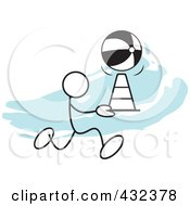 Royalty Free RF Clipart Illustration Of A Stickler Man Doing A Cone Race 2 by Johnny Sajem