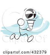 Royalty Free RF Clipart Illustration Of A Stickler Man Doing A Cone Race 4 by Johnny Sajem