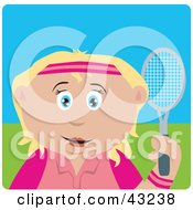 Clipart Illustration Of A Blond Caucasian Girl Holding A Tennis Racket