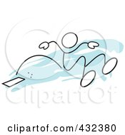 Royalty Free RF Clipart Illustration Of A Stickler Man Doing The Long Jump 1