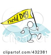 Royalty Free RF Clipart Illustration Of A Stickler Man Carrying A Field Day Flag 1