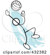Royalty Free RF Clipart Illustration Of A Stickler Man Playing Volleyball 1 by Johnny Sajem