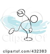 Royalty Free RF Clipart Illustration Of A Stickler Man Throwing A Discus 1