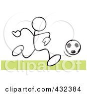 Royalty Free RF Clipart Illustration Of A Stickler Man Playing Soccer 2 by Johnny Sajem