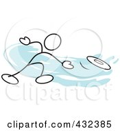 Royalty Free RF Clipart Illustration Of A Stickler Man Throwing A Frisbee 1