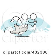 Royalty Free RF Clipart Illustration Of Stickler Men Working Together In A Three Legged Race 1