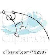 Royalty Free RF Clipart Illustration Of A Stickler Man Doing The Pole Vault 1