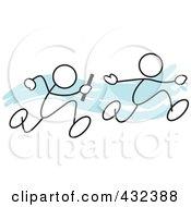 Royalty-Free Rf Clipart Illustration Of Stickler Men Running A Relay Race - 1
