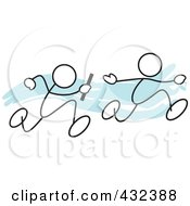 Royalty Free RF Clipart Illustration Of Stickler Men Running A Relay Race 1
