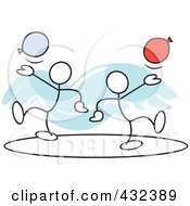 Royalty-Free Rf Clipart Illustration Of Stickler Men With Balloons In A Circle - 1