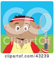 Clipart Illustration Of A Sporty Hispanic Boy Playing Tennis