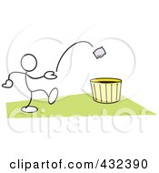 Royalty Free RF Clipart Illustration Of A Stickler Man Tossing A Bag Into A Basket 3