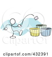 Royalty Free RF Clipart Illustration Of A Stickler Man Tossing A Bag Into A Basket 2