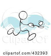 Royalty Free RF Clipart Illustration Of A Stickler Man Balancing An Egg On A Spoon In A Relay Race 2 by Johnny Sajem