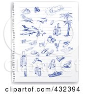 Royalty Free RF Clipart Illustration Of A Torn Out Ruled Page Of Blue Ink Travel Sketches by Eugene