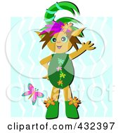 Happy Elf Waving In Front Of A Waterfall