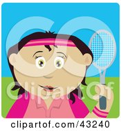 Clipart Illustration Of A Latin American Girl Holding A Tennis Racket
