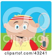 Clipart Illustration Of A Sporty Caucasian Boy Playing Tennis