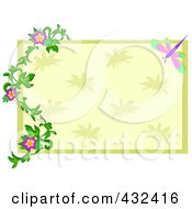 Green And Beige Rectangle With A Floral Vine And Dragonfly Frame