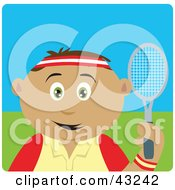 Clipart Illustration Of A Sporty Latin American Boy Playing Tennis by Dennis Holmes Designs