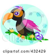Royalty Free RF Clipart Illustration Of A Tropical Toucan On A Branch Over A Blue Floral Oval by bpearth