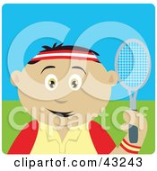 Clipart Illustration Of A Sporty Mexican Boy Playing Tennis