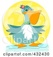 Royalty Free RF Clipart Illustration Of A Blue Pelican Wearing Floral Accessories Over A Yellow Circle